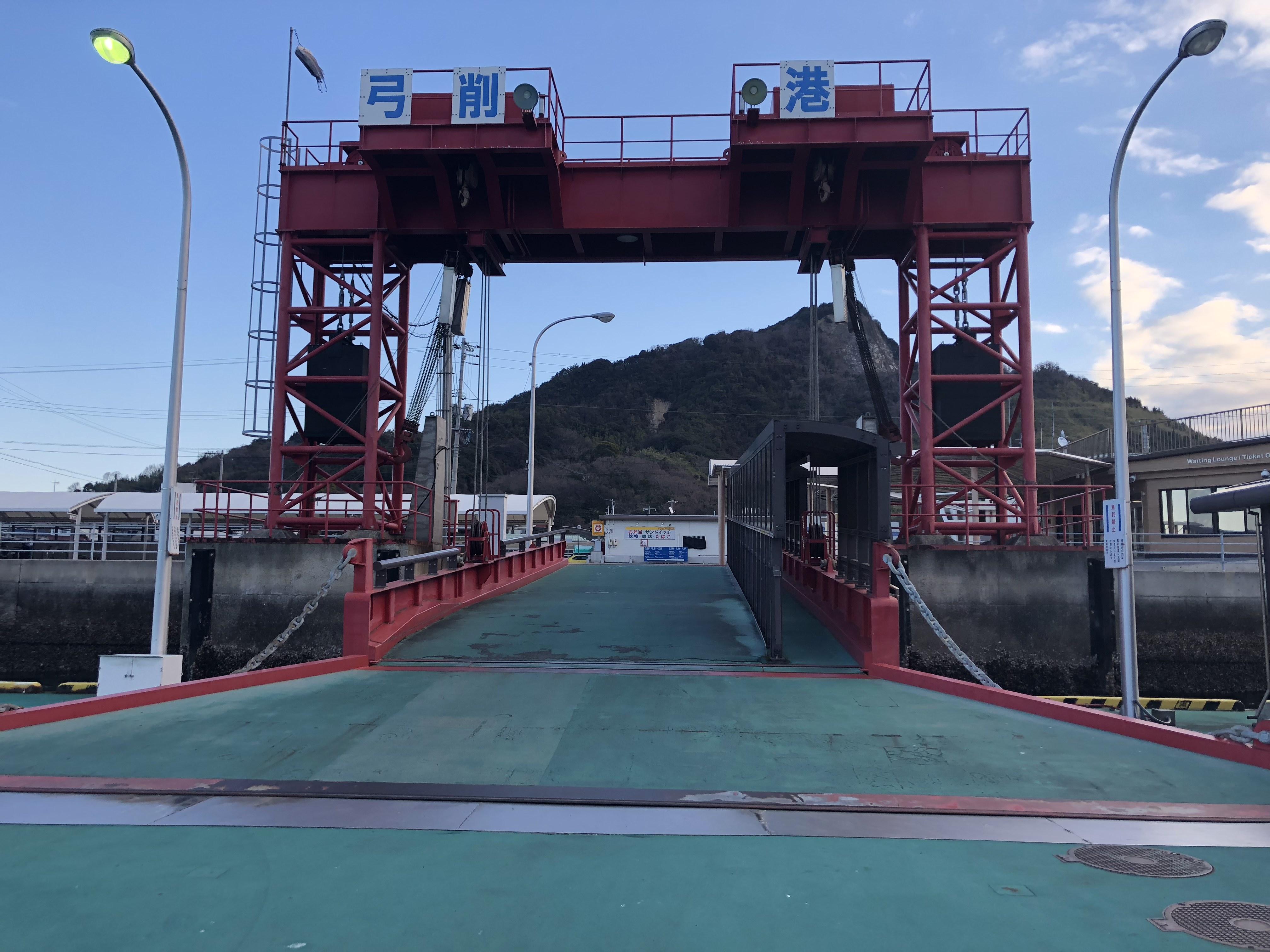 上島町弓削港の桟橋の様子